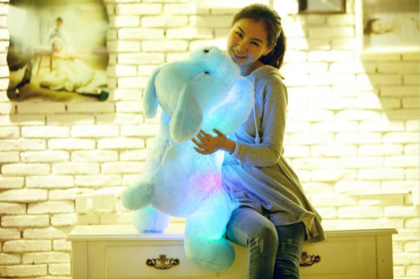 Wholesale-OP-80CM Creative toy Cute Inductive dog nightlight plush toy LED glow pillow soft light up stuff toy dog pet quality