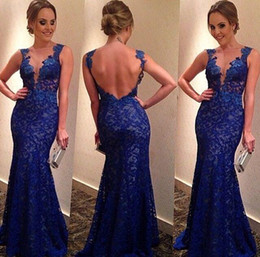 Wholesale Sexy Elegant Fitted Dresses - Royal Blue Lace Prom Dresses Formal Prom Dress Sexy V-cut Neck Backless Fitted Mermaid Floor Length Elegant Party Dresses Evening Gowns