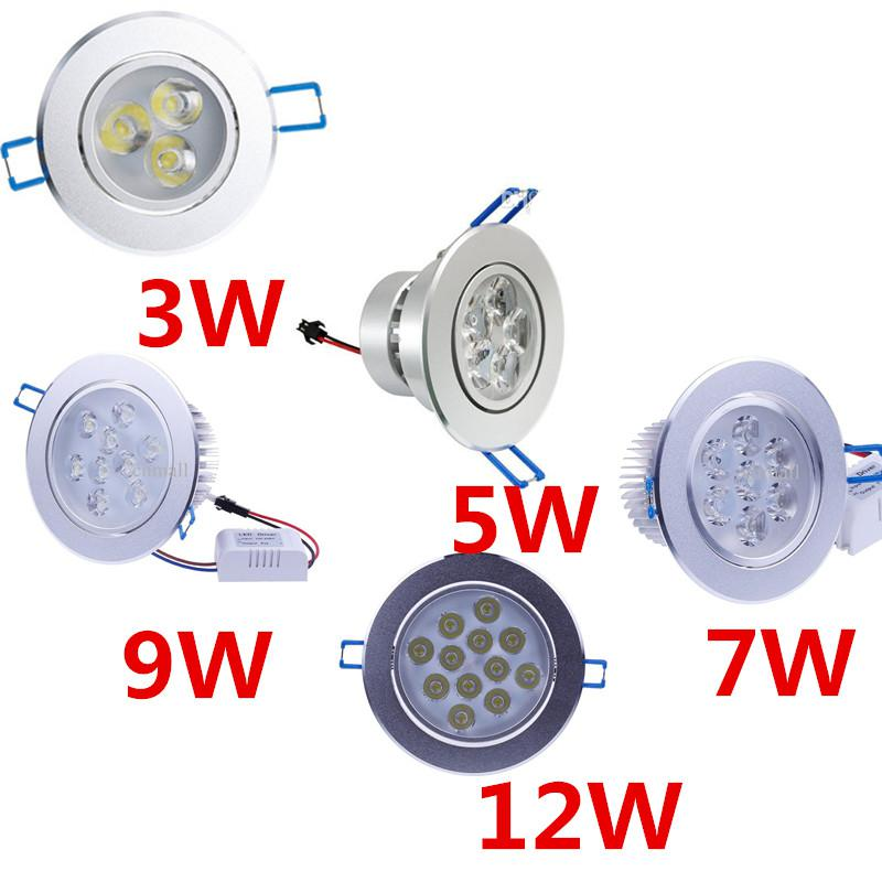3W 5W 7W 9W 12W LED Downlights Degree/Bright Dimmable Light Bulb Downlights Round Driver LED Lights Ceiling Light LED Recessed Downlight