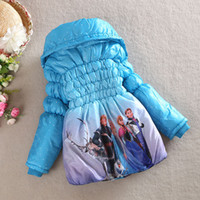Wholesale Children Pole - Elsa Anna Winter Girls Thicken Arctic Pole Froze Wollen Long Coat Jackets Overcoat Girl Children Child Clothes 100-130cm Blue Red K0781