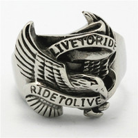 Wholesale Eagle Wing Charms - Best Quality Men's Fashion Jewelry Punk Live To Ride Flying Eagle Big Wings 316L Stainless Steel Charming Cool Biker Ring