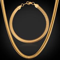 ingrosso bracciali di serpente alla moda-Set di gioielli di catena del serpente di qualità con 18K timbro d'oro reale placcato in oro 18k titanio collana set braccialetto all'ingrosso GNH334