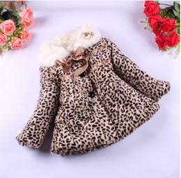 Wholesale Baby Leopard Coat Outwear - Winter Children's Coat Baby Girl Keep Warm Collars Cotton-Padded Clothes Coat The Leopard Children Down Coats Kids Outwear GX928