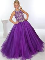 vestidos de niña de flores púrpura con cuentas al por mayor-Cristales de cuentas Organza púrpura Vestidos del desfile de las muchachas 2019 Rhinestones Vestido de bola Vestidos de las muchachas de flor Vestidos de fiesta formales del cumpleaños de los niños