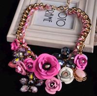 Wholesale Necklace Flowers Neon - 2014 fashion necklaces gemstone luxury flower crystal jewel metal stereo short necklace female hyperbole designer statement neon necklaces