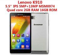 lenovo phone оптовых-Lenovo K910 VIBE Z Snapdragon 800 Android 4.2 Smart Phone 13.0MP камера 2GB 16GB 3G OTG Quad Core 2.2GHz 5.5-дюймовый экран FHD IPS