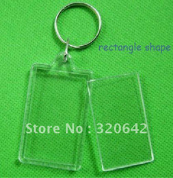 acrylic photo frame key ring Promotion 100pcs blanc acrylique Rectangle porte-clés insérer Photo porte-clés (chaîne porte-clés) 2quot; x 1.25quot ; porte-clés cadre photo en plastique