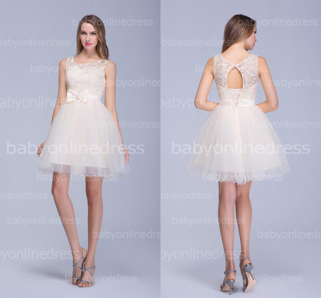Crew Neck Lace Tulle Short Wedding Dresses 2014 Bow Sash Hollow Lace ...