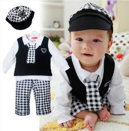 Boys White Plaid Shirt NZ - Retail Boy Baby Formal Gentleman Suit Cap+Vest+White T-Shirt Top+Pants+Tie 5Pcs Set Children Long Sleeve Plaid Outfits Kids Clothing Set