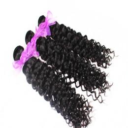 Acheter des cheveux péruviens vierges en Ligne-6A 100% brésilien malaisien indien péruvien avec des armures de cheveux vierges Achetez 2Bundles, obtenez-en un gratuit Jerry Curly Extension de trame de cheveux humains - Teindre