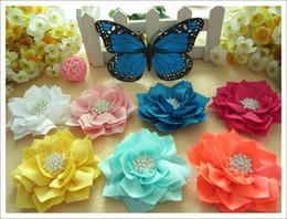 Wholesale Headband Diamond Center - 20pcs 10 color hair head flower for infant girl hair accessories lotus flower with diamond center hair flower for baby girl