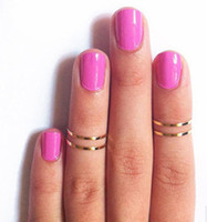 Wholesale Three Finger Ring Women - Polished thin copper ring clavicle aesthetic joints finger Ring Korean women 4PCS ring set Stack Rings ZR39