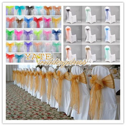 Wholesale Dark Green Organza Chair Sash - Cheap Wedding Decorations Organza Bow Chair Cover Sash Bow Wedding Anniversary Party Banquet Favor Reception Decoration 2015