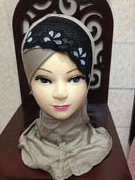 Wholesale Scarves Islamic Women - L011 hot sale soft cotton cover neck lace cross design muslim scarf hijab inner cap 20 pieces per lot islamic ninja underscarf