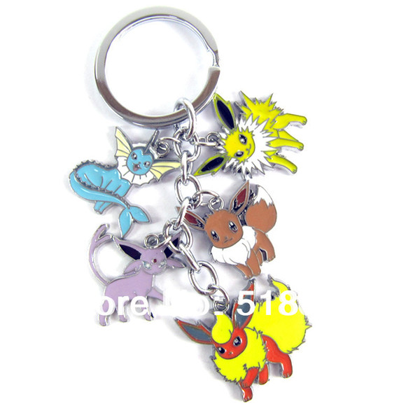 Free Shipping Animal Anime Pokemon Pocket Monsters 10pcs/lot Metal Toys Figure Colorful Keychain For Christmas Gifts
