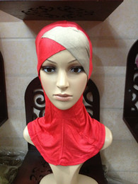 Wholesale Cross Scarfs Wholesale - L012 hot sale soft cotton cover neck two colors cross design muslim scarf hijab inner cap 20 pieces per lot islamic ninja underscarf
