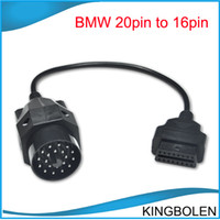 Wholesale Bmw 16 Pin - Wholesale 20pin to 16pin cable for BMW OBD 1 cable for BMW 20 pin adapter to 16 pin OBD II cable DHL Free shipping