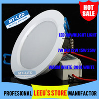 DHL LIVRAISON GRATUITE High Power Dimmable Led Panel Light 7W 9W 12W 15W 18W 25W 110-240V Led Plafonnier ampoule Lampe encastrée downlight