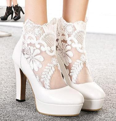 wedding lace shoes white lace wedding boots hollow out wedding pumps 9790