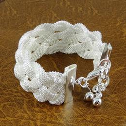 Wholesale Mesh Link Bracelet - Hot ! 925 Sterling Silver Jewelry Shining Mesh Bracelets Bangles Jewelry Charm Links Chain Bracelets 5 Piece Free Shipping