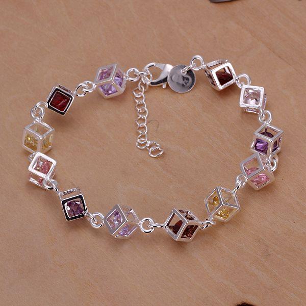Factory Price Brand New 925 Silver Bracelet Bangle Jewelr Shinny Colorful Squares Charm Link Bracelet 5 Piece Sale