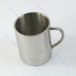 Wholesale Stainless Deck Light - Wholesale-Free Shipping 450ml Stainless Steel Coffee Mug Tumbler Camping Mug Double-deck Bilayer Cup