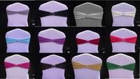 fildişi spandex toptan satış-Spandex Fildişi Sandalye Bantları Ile Elmas Toka / Sandalye Kapak Kanat / Sandalye Bant Düğün Olaylar Dekorasyon Için Sandalye Kapak