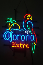 Luce del neon pappagallo online-NUOVO Corona Extra Pappagallo Uccello sinistro Pallm Tree Beer Bar Pued Handcrafted Real Light Neon Sign
