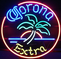 Wholesale Bar Signs Corona - NEW Corona Extra Plam Tree Circle Beer Bar Pub Handcrafted Real Glass Tube Neon Light Sign