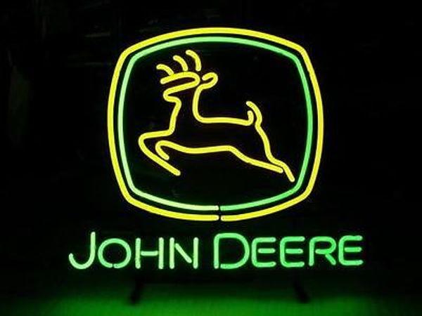 NEW JOHN DEERE GLASS NEON LIGHT BEER PUB BAR SIGN