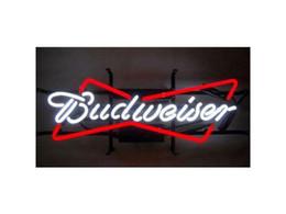 """Enseignes au néon rouge en Ligne-Nouveau Budweiser Verre Enseigne Au Néon Bar Lumière Bar Pub Bière Disco Bar Nuit Bar Résidentiel Rouge Blanc 19 """"X12"""""""