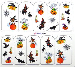 designs nail wraps nail art water transfers decals halloween witch bat ghost cat pumpkin bop free shipping