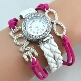 Wholesale Weave Wrap Around Leather - Weave Leather Wrist Wrap Around Bracelet Watch Fashion Diamonds Love Women Leather Bracelet Quartz Watch 10pcs Drop Free Shipping