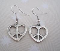 Wholesale Love Wire Earring - Earring, Antique silver *LOVE HEART PEACE SIGN Earrings * Antique silver Earrings NEW silver Fishhook Ear Wire (ab15)