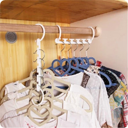 Wholesale Organizer Hanger - Space Saver Wonder Magic Hanger Clothes Closet Organizer Hook Drying Rack Multi-Function Clothing Storage Racks