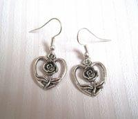 Wholesale Love Wire Earring - Earring, Antique silver *LOVE HEART ROSE FLOWER * Earrings NEW silver Fishhook Ear Wire (ab16)