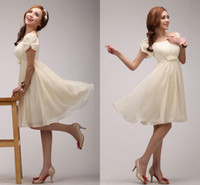 Wholesale Bridesmaid Short Sleeve Design - ZM-Sweet Women's Short Puff Sleeve High Waist Appliques Chiffon Bridesmaid Dress Short Design A-Line Party Charming Gowns 2014 Best Selling