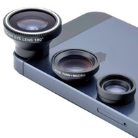 Magnetic 3in1 Fisheye fish eye Lens + Wide Angle + Macro Kit de Photo Kit Objectif pour iPhone 4 4S iphone 5 5S Samsung S4 Note2