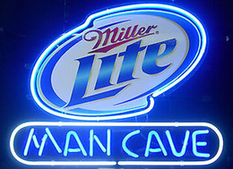 Wholesale Miller Lite Beer Neon Light - NEW MILLER LITE MAN CAVE REAL GLASS NEON BEER LAGER BAR PUB LIGHT SIGN