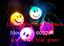 Wholesale Kids Led Flashing Necklaces - Wholesale-OP-FreeShip 50pcs Mixed Color LED Flash 7 colors Changing Smiling Face Necklace Bag Cell Phone Guitar Pendants Kids Necklace Toy