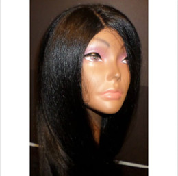 Wholesale Brazilian Yaki Wigs - Human hair wigs natural color yaki straight virgin brazilian full lace wigs&front lace wigs with natural hairline