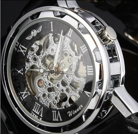 Wholesale-Man's Winner Black Leather strap Stainless Steel Skeleton Mechanical Watch For Man Manual Mechanical Wrist Watch Free Shipping