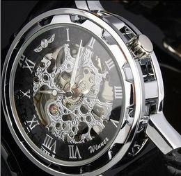 Atacado-Vencedor do Homem Pulseira De Couro Preto Esqueleto de Aço Inoxidável Relógio Mecânico Para Homem Manual Relógio de Pulso Mecânico Frete Grátis cheap skeleton wrist watch black steel de Fornecedores de relógio de pulso esqueleto aço preto