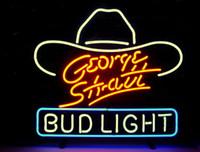 ingrosso bud light signs-NUOVO GEORGE STRAIT BUD LIGHT BEER VERO VETRO NEON BAR PUB SEGNO SPEDIZIONE GRATUITA H899