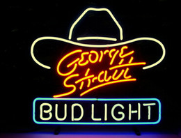 Wholesale Bud Light Commercials - NEW GEORGE STRAIT BUD LIGHT BEER REAL GLASS NEON BAR PUB SIGN FREE SHIPPING H899