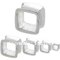 square ear tunnels - OP L Surgical Steel Casting Flared Square Plug mm mm Mixed Sizes Square Ear Tunnel Body Jewelry Square Earlets