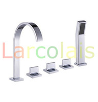 Wholesale Waterfall Bathtub Faucet Set - Bathroom Deck Mount Bath Tub Three Handles Widespread Waterfall Bathtub Basin Sink Faucets with Handheld Shower Sets(Chrome Finish)