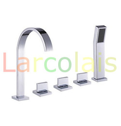 Wholesale Sink Bathtub Faucet - Bathroom Deck Mount Bath Tub Three Handles Widespread Waterfall Bathtub Basin Sink Faucets with Handheld Shower Sets(Chrome Finish)