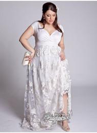 Wholesale Sheath Wedding Dress Cap Sleeves - 2015 Sexy Lace Plus Size Wedding Dresses Sleeveless Deep V Neck Satin Apliqque Summer High Quality Sheath Floor Length Elegant Bridal Gowns