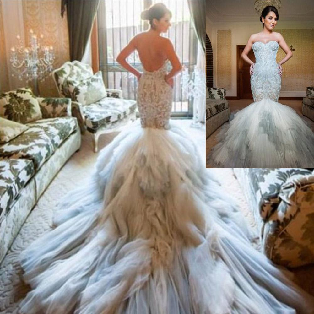 2014 Replicate Vestidos Luxury Beaded Embroidery Backless Wedding ...